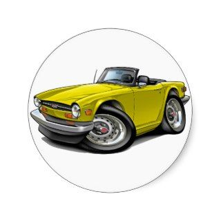 Triumph TR6 Yellow Car Round Stickers