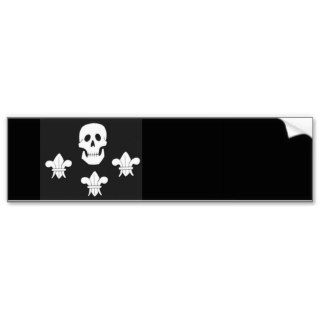 JOLLY ROGER SKULL AND THREE LILIES FLAG BUMPER STICKER