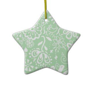 Shabby Chic Green Star Ornament Decoration
