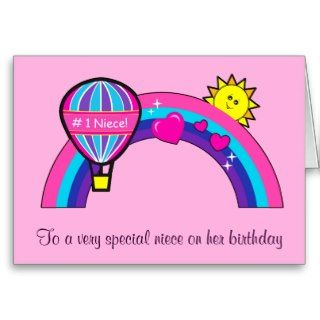 Happy Birthday Niece with Sun and Rainbow Greeting Card