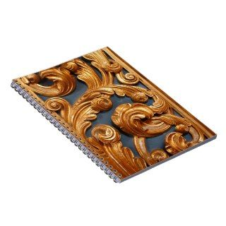 Golden Wood Carving Pattern Spiral Notebooks
