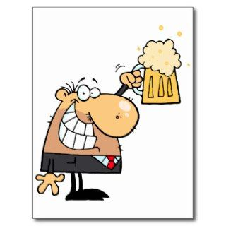 happy man cartoon celebrating with beer post cards
