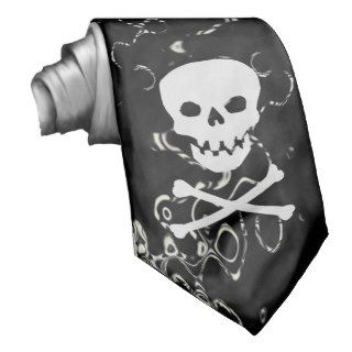 Black and white Swirl Tie with Skull