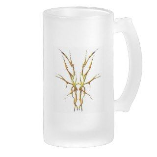 Deer Skull Tribal Tattoo   gold Beer Mugs