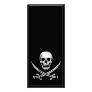 Glassy Pirate Skull & Sword Crossbones Full Color Rack Card