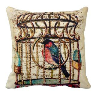 Vintage Birdcage French Script Background Pillow