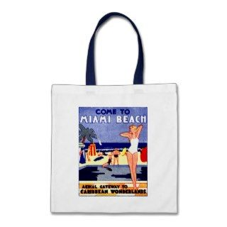 1925 Miami Beach Travel Poster Tote Bags