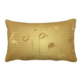 Home Decor Gold Music Notes Pillow