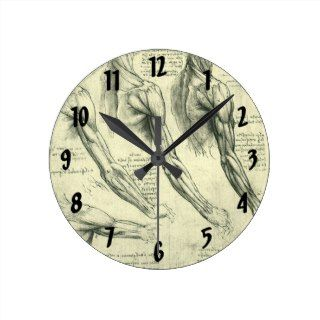 Arm and Shoulder Muscles Anatomy Leonardo da Vinci Round Wall Clock