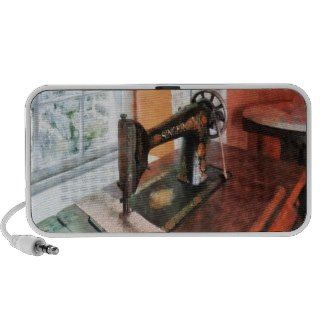 Sewing Machine Near Lace Curtain Mp3 Speakers