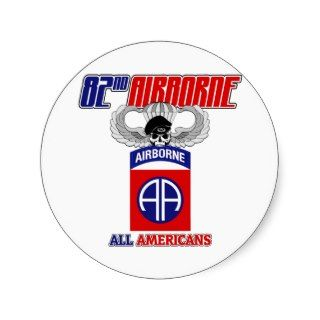 82nd Airborne Jump Wings Round Sticker