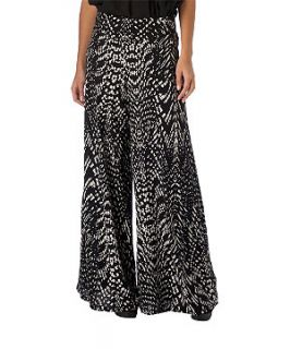 Black (Black) Te Amo Graphic Palazzo Trousers  231011301