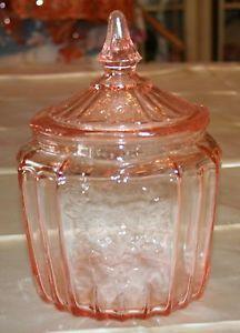 VINTAGE PINK MAYFAIR OPEN ROSE DEPRESSION GLASS COOKIE JAR W LID ANCHOR HOCKING
