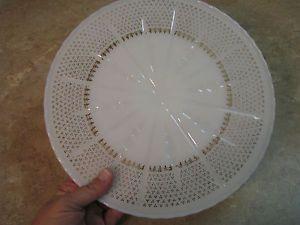 Anchor Hocking Vintage White Milk Glass Cake Plate Pedestal Gold Fleur de Lis