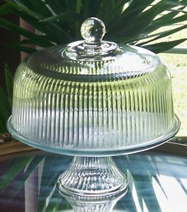 Anchor Hocking Monaco Clear Glass Pedestal Cake Stand with Dome Lid