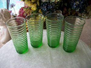 Set Vintage Anchor Hocking Green Depression Glass Ribbed Drinking Tumbler Glass