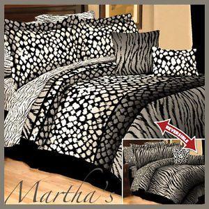 New 10pc Queen Black White Gray Zebra Leopard Animal Print Comforter Bedding Set