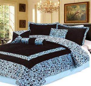 7pc New Luxury Blue Faux Fur Zebra Animal Print King Comforter Set