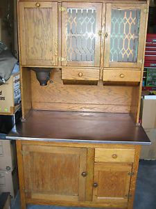 Antique Hoosier Cabinet Oak Flour Mill Stainless Counter Top