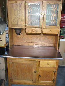 Antique Hoosier Cabinet Oak Flour Mill Stainless Counter Top