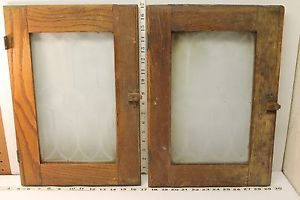 2 Vintage Antique Hoosier Cabinet Oak Framed Frosted Glass Doors with Hardware