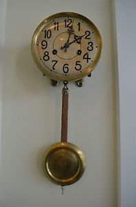 Antique German Junghans Regulator Wall Clock Movement with Bracket and Pendulum