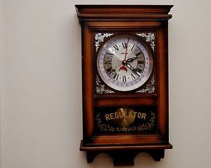 Alaron Antique Vintage Wind Up Pendulum Regulator 31 Day Chime Wall Clock