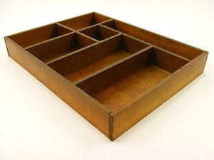 Vintage Wooden Art Supply Tool Box Craft Utensil Divided Dovetailed Oak Tray