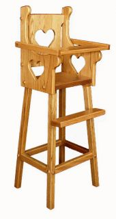 Amish Baby Doll Highchair Wood Wooden Toddler Kids Toy Heirloom Furniture New