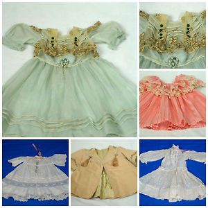 Lot of 5 Antique Vintage Baby Clothes Doll Clothes Dresses Jacket French Style