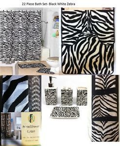 22 PC Bath Accessories Set Black Zebra Animal Print Bathroom Rugs Shower Curtain