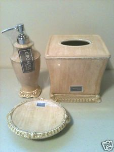 Croscill Addis Natural 3 PC Ceramic Bath Accessory Set New