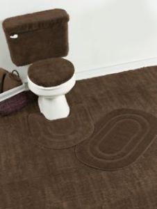 New Madison Basic 5 Piece Brown Bath Rug Mat Toilet Tank Cover Set