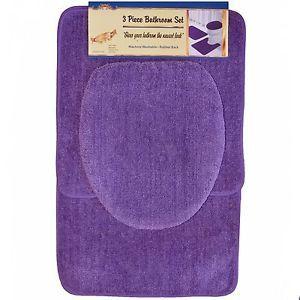 3 PC Purple Bathroom Set Bath Contour Rug Lid Toilet Seat Cover Mat Carpet Set