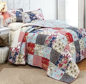 Shabby 5P Queen Bedding Quilt Set Heirloom French Country Cottage Patchwork Chic