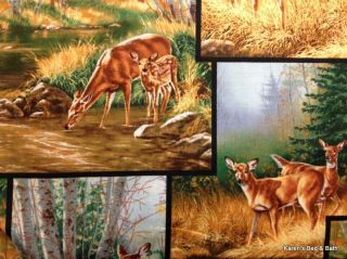 Country Scenic Deer Patch Blocks Green Brown Cabin Lodge Curtain Valance New