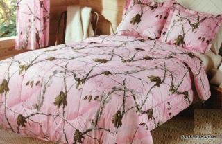 Realtree Girls Hunting Outdoors Tree Camouflage Pink Bedding Comforter Shams Set