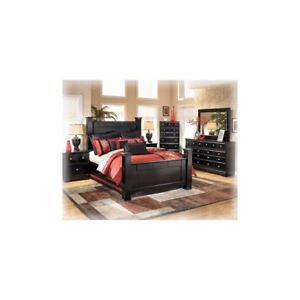Ashley Shay Big Queen Black Modern Poster Bedroom Set Houston Only