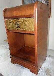 Vintage 30`s 40`s Antique Art Deco Waterfall Bedroom Furniture Nightstand