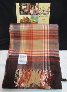 Vtg Faribo Stadium Camp Blanket Throw Blanket Gray Rust Plaid 50x60 Unused NIP