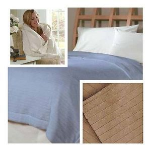 Soft Heat Wide Wale Ribbed Plush Electric Heated Throw Blanket Assorted Colors