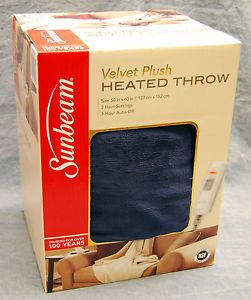 Sunbeam Microplush Heated Throw Blanket Blue New