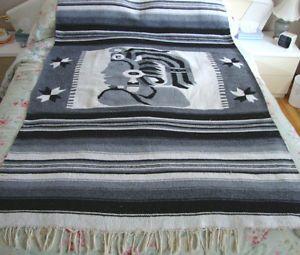 Old Handmade Antique Egyptian Cleopatra Reversible Blanket Sofa Throw w Fringe