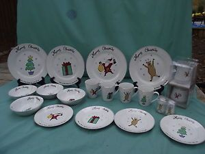 21 Pcs Merry Brite Christmas Dinnerware Dishes Santa Tree Reindeer Gift Box