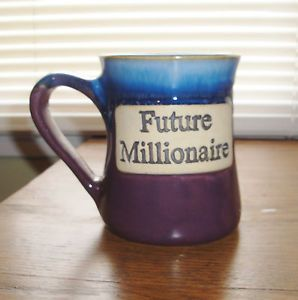 Large Future Millionaire Stoneware Mug Pottery Coffee Cup