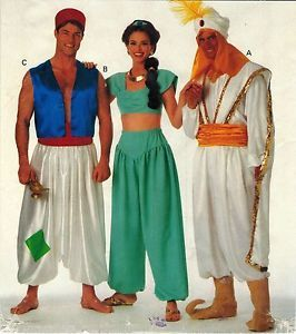 Misses Mens Aladdin Jasmine Genie Sultan Arabian Halloween Costume Pattern XS XL