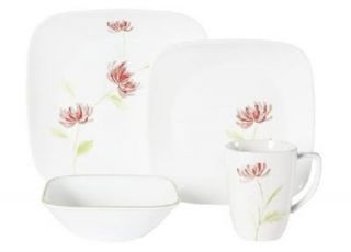 16 PC Corelle Summer Mums Dinnerware Set Pink Floral NW