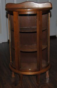 ... Antique Small Curved Glass Curio Cabinet Vintage Display Cabinet ...
