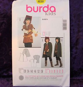 Burda 9510 Easy Robin Hood Cloak Tunic Boy's Costume Pattern Sz 8 13 New