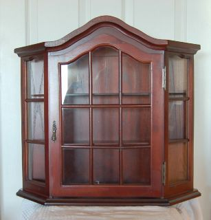 ... Display Curio Cabinet For Wall Mahogany Stain Dust Free In Glass Wood  Case New ...